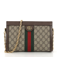 99e9f654972 Gucci Ophidia Chain Shoulder Bag GG Coated Canvas Small Brown 3368903