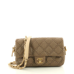Chanel Double Stitch Chain Shoulder Bag Quilted Lambskin Small Brown 3370402