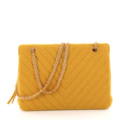Chanel Vintage Mademoiselle Chain Zip Tote Chevron Terry Cloth Medium Yellow 3370804