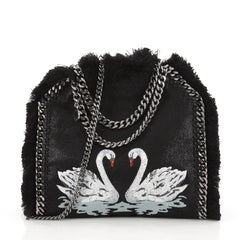 Stella McCartney Falabella Fold Over Crossbody Bag Embroidered Shaggy Deer with Fringe Mini Black 3372101