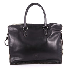 Loewe Flamenco Tote Leather with Snakeskin Large Black 3379205