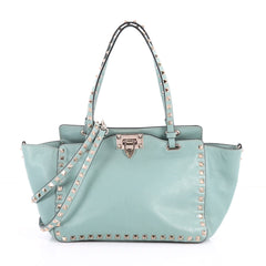 Valentino Rockstud Tote Soft Leather Small Green 3380405