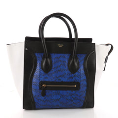 Celine Tricolor Luggage Handbag Python and Leather Mini Blue 3383801