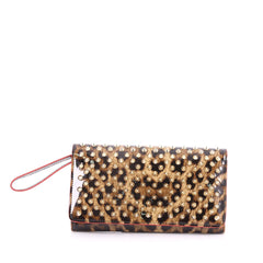 Christian Louboutin Macaron Wristlet Spiked Patent Brown 3384602