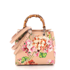 Gucci Bamboo Shopper Tote Blooms Print Leather Mini Pink 3385302