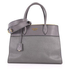 Prada Paradigme Handbag Saffiano Leather Medium Gray 3389601