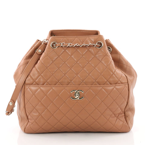 c0e3fd8b3dcf1 Chanel Drawstring CC Lock Bucket Bag Quilted Lambskin 3390402 – Rebag