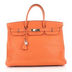 Hermes Birkin Handbag Orange Clemence with Palladium Orange 3391401