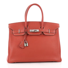 Birkin Handbag Sanguine Togo with Palladium Hardware 35