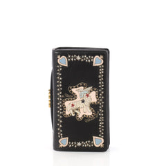 Christian Dior Tarot Pouch Embroidered Leather Black 3395301