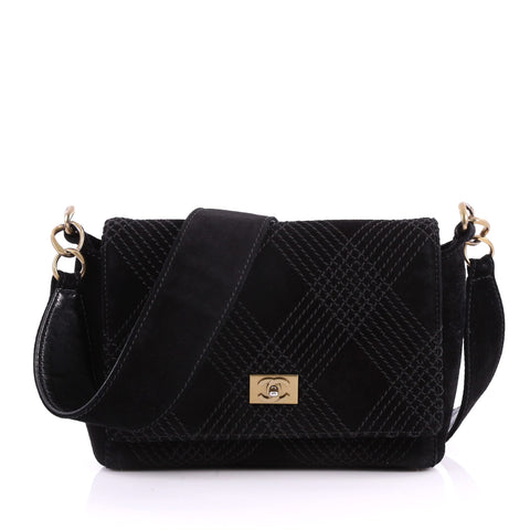 2df8feaef7f1 Buy Chanel Vintage Stitched CC Flap Bag Suede Small Black 3396504 – Rebag