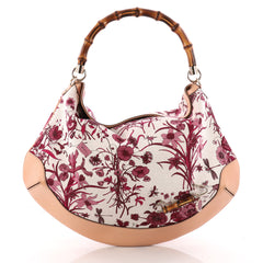 Peggy Bamboo Handle Hobo Flora Canvas