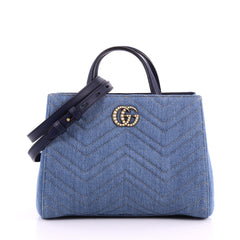 Pearly GG Marmont Tote Matelasse Denim Small