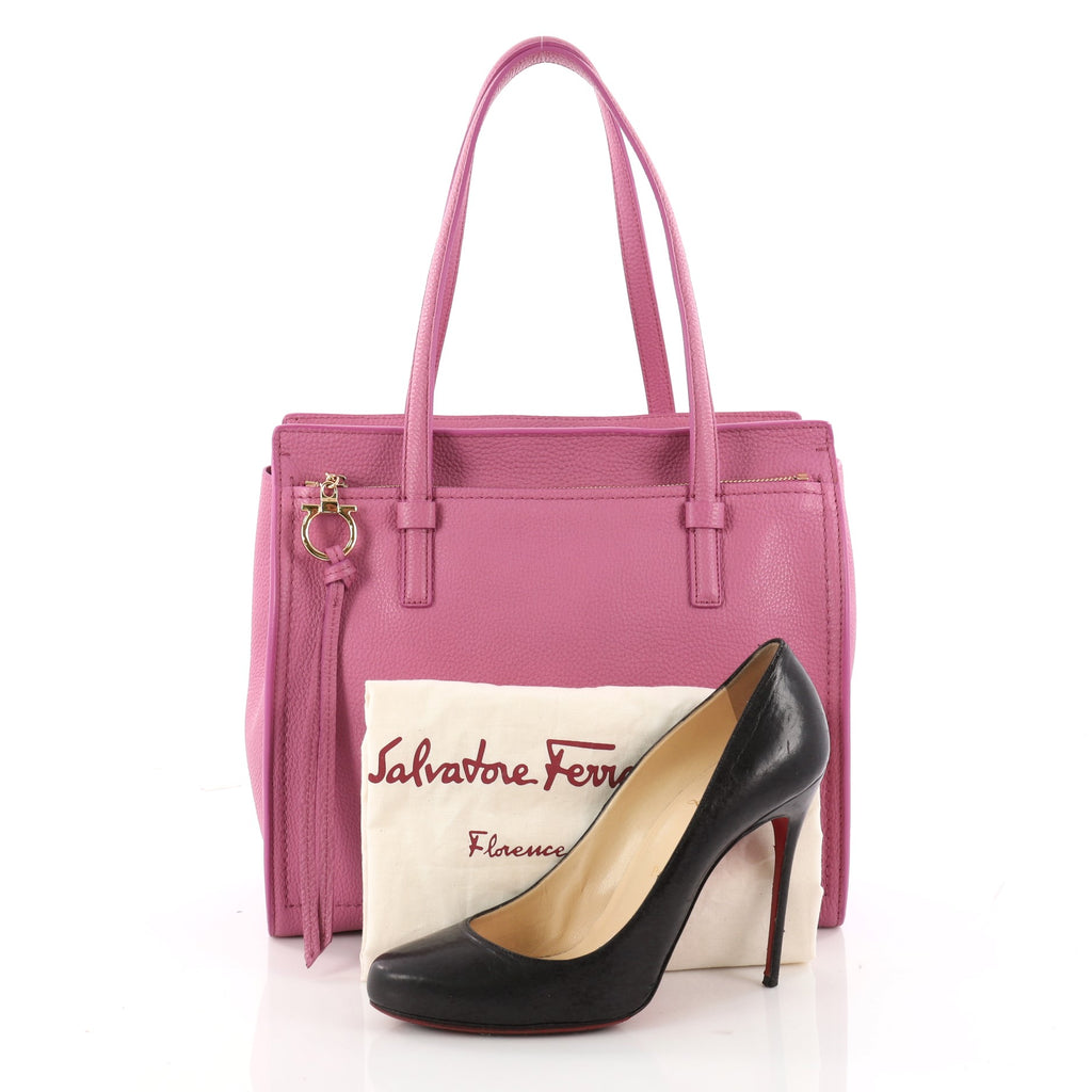2c08f3a7a0 Buy Salvatore Ferragamo Amy Tote Pebbled Leather Medium Pink 3398905 ...