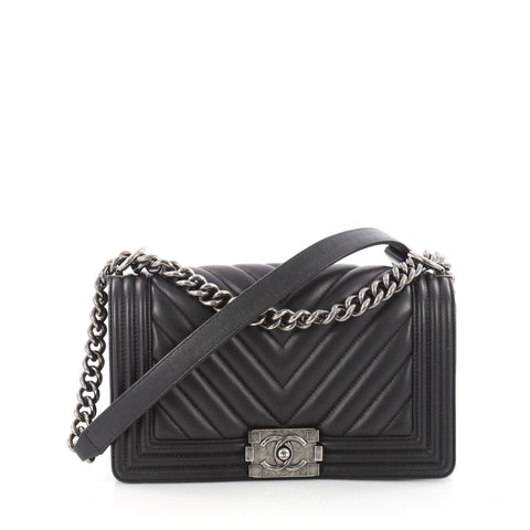 b41416a24a67 Buy Chanel Boy Flap Bag Chevron Calfskin Old Medium Black 3400502 – Rebag