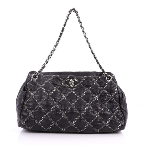 e6c0210e77ee Buy Chanel Tweed on Stitch Tote Quilted Nylon Large Black 3405801 – Rebag