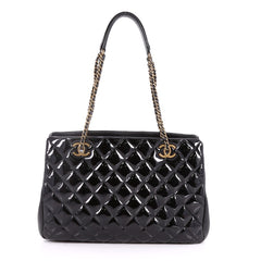 Chanel Eyelet Tote Quilted Patent Small Black 3405802