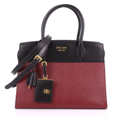 Prada Bibliotheque Handbag Saffiano Leather with City 3409802