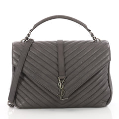 Saint Laurent Classic Monogram College Bag Matelasse Gray 3409804