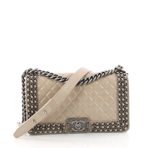 133b4f28ad2650 Chanel Chained Boy Flap Bag Quilted Glazed Calfskin Old 3415901 – Rebag