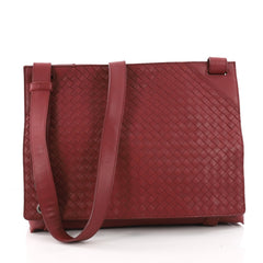 Square Panelled Messenger Bag Intrecciato Nappa Large