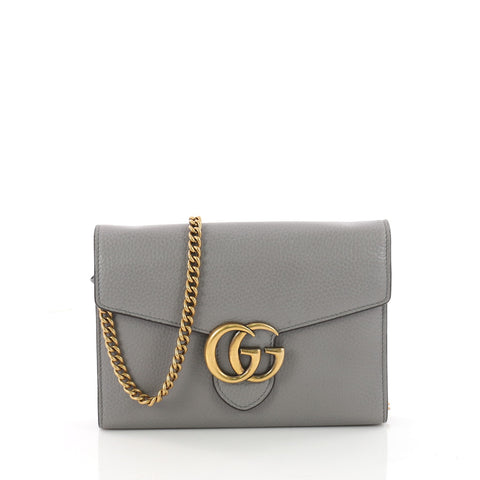 8aa2357842be Buy Gucci GG Marmont Chain Wallet Leather Mini Gray 3419801 – Rebag