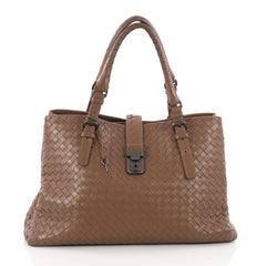 Bottega Veneta Roma Handbag Intrecciato Nappa Medium Brown 3420002