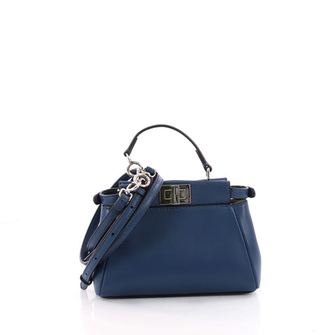 919f22cb7e01 Buy Fendi Peekaboo Handbag Leather Micro Blue 3427201 – Rebag