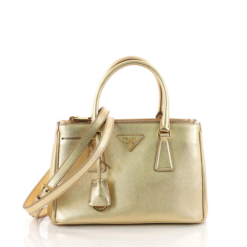 dd34d9aee520 Buy Prada Double Zip Lux Tote Saffiano Leather Small Gold 3427203 – Rebag