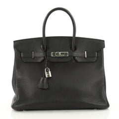 Hermes Birkin Handbag Black Togo with Palladium Hardware Black 3428101