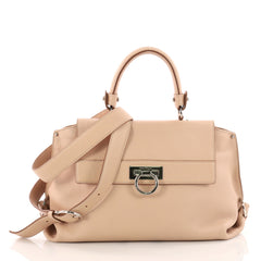 Salvatore Ferragamo Sofia Satchel Pebbled Leather Medium Neutral 3428302