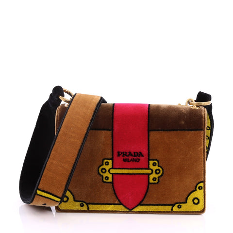 39c042d589 Buy Prada Cahier Crossbody Bag Printed Velvet Small Brown 3429701 – Rebag