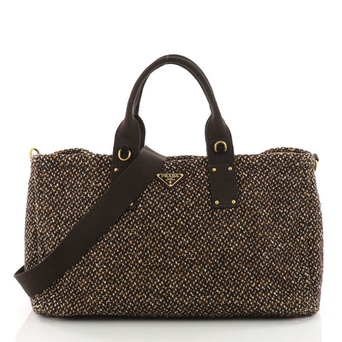 a6804b5c37 Buy Prada Convertible Open Tote Tweed East West Brown 3431003 – Rebag