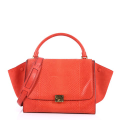 Celine Trapeze Handbag Python Medium Red 3432201