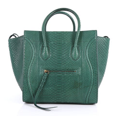 Celine Phantom Handbag Python Medium Green 3432202