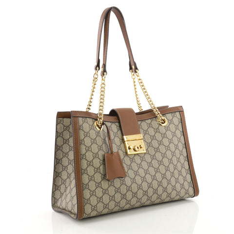 ff3ad005cea Buy Gucci Padlock Chain Tote GG Coated Canvas Medium Brown 3432701 ...