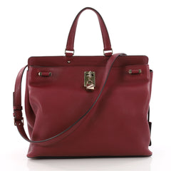 Valentino Joy Lock Top Handle Bag Leather Medium Red 3433301