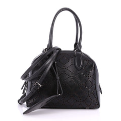 Alaia Sac Trapeze Tote Laser Cut Leather PM Black 3433502