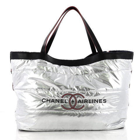 Chanel Airlines Reversible Tote Terry Cloth Large Blue 3440502 – Rebag 905c45196bf29