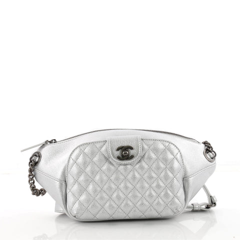 445765115819 Buy Chanel Banane Waist Bag Quilted Leather Silver 3441101 – Rebag