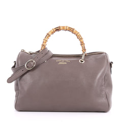 Gucci Bamboo Shopper Boston Bag Leather Medium Gray 3441702