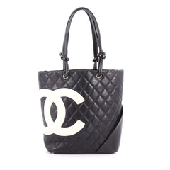 Chanel Cambon Tote Quilted Leather Medium Black 3442106