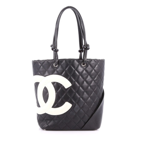 d56125cc6663b4 Buy Chanel Cambon Tote Quilted Leather Medium Black 3442106 – Rebag