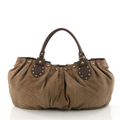 Gucci Pelham Tote Studded Python Large Brown 3445701