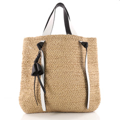 Celine Basket Tote Straw with Leather XL Neutral 3450302