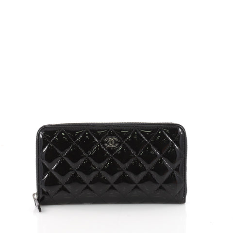 a224da839197 Buy Chanel Zip Around Wallet Quilted Patent Long Black 3451302 – Rebag