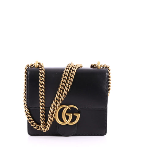4506b226e16 Buy Gucci Marmont Chain Shoulder Bag Leather Small Black 3452101 – Rebag