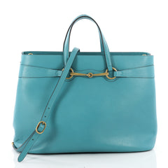 Gucci Bright Bit Convertible Tote Leather Large Blue 3454101