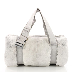 Chanel Sport Line Buckle Shoulder Bag Fur Medium Gray 3454301