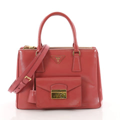 18a69ce56c0fe2 Prada Front Pocket Double Zip Lux Tote Saffiano Leather Red 3454505